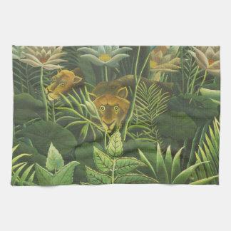 Copie tropicale d'art de lion de jungle de linge de cuisine