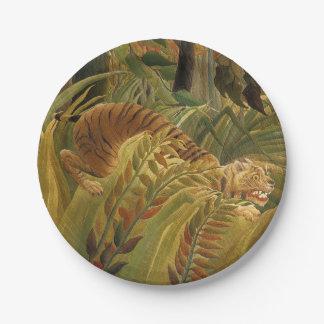 Copie tropicale d'art de tigre de jungle de assiettes en papier