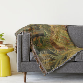 Copie tropicale d'art de tigre de jungle de couvre pied de lit
