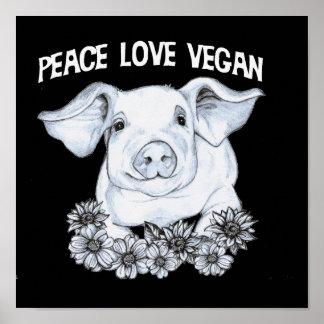 Copie végétalienne de porc d'amour de paix poster