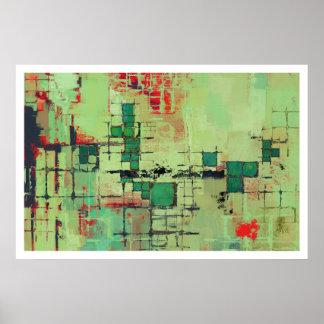 Copie verte d art abstrait de trellis affiches