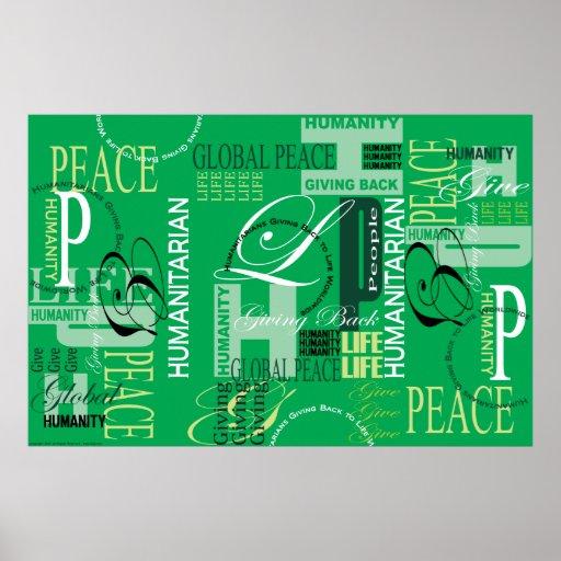 Copie verte humanitaire de graffiti affiches