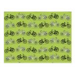Copie verte vintage de motif de bicyclettes d'amus cartes postales