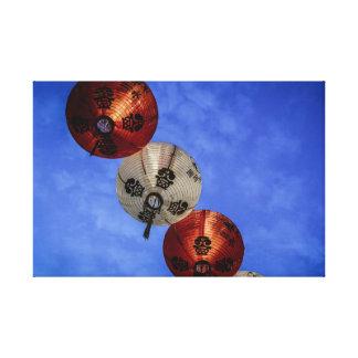 Copie vibrante de toile de lanternes chinoises