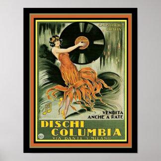 Copie vintage 11 x 14 d'annonce de Dischi Colombie Poster