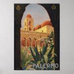 Copie vintage d'affiche d'art de porte de Palerme