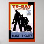 Copie vintage d'affiche de sécurité de travail de