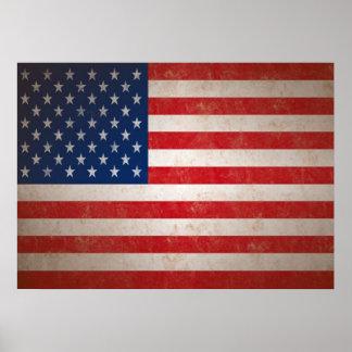 Copie vintage d'art de drapeau américain affiche