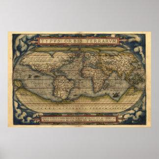 Copie vintage de carte d'atlas du monde affiche