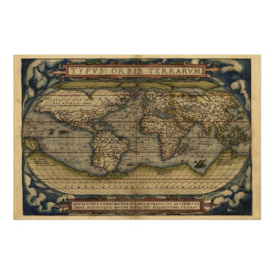 copie vintage de carte d 39 atlas du monde posters zazzle. Black Bedroom Furniture Sets. Home Design Ideas
