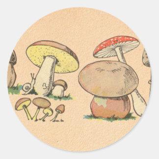 Copie vintage de champignon sticker rond