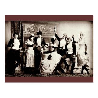 Copie vintage de filles de partie carte postale