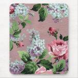 Copie vintage de lilas et de papier peint de roses tapis de souris