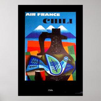 Copie vintage du Chili d'affiche de voyage Posters
