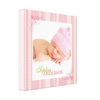 Copies de toile de mur de photo de bébé de rayures toile tendue sur châssis
