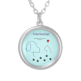 Copies de Vétérinaire-Patte sur mon coeur Pendentif Rond