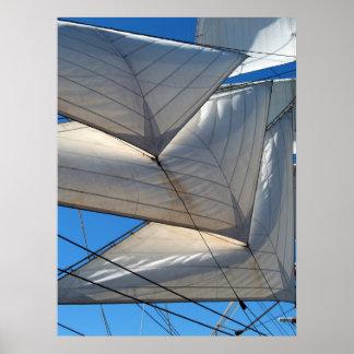 Copies encadrées par voiles de bateau de navigatio affiche