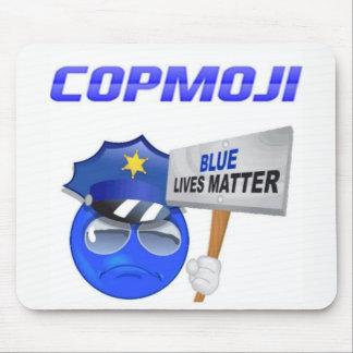 CopMoji - tapis de souris bleu de matière des vies