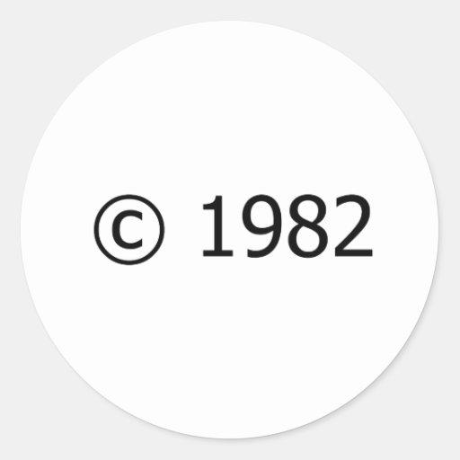 Copyright 1982 adhésif rond