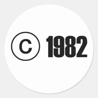Copyright 1982 autocollants ronds