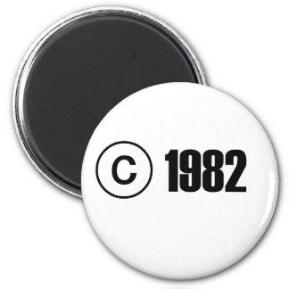 Copyright 1982 magnet rond 8 cm