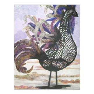 Coq abstrait carton d'invitation 10,79 cm x 13,97 cm
