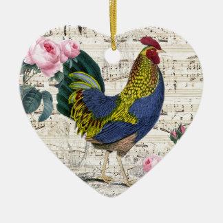 Coq chic minable ornement cœur en céramique