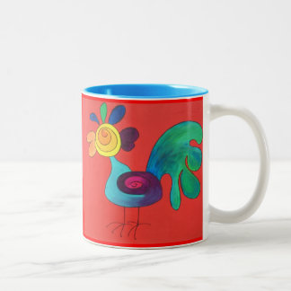 Coq d'arc-en-ciel mug bicolore