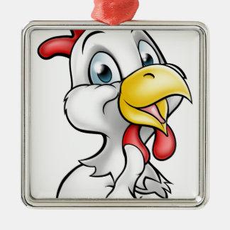 Coq de poulet de bande dessinée ornement carré argenté