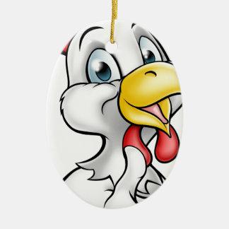 Coq de poulet de bande dessinée ornement ovale en céramique