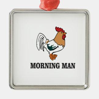 coq d'homme de matin ornement carré argenté