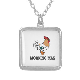 coq d'homme de matin pendentif carré