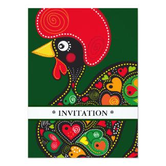 Coq d'invitation de Barcelos nr02 Carton D'invitation 13,97 Cm X 19,05 Cm