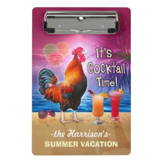 Coq drôle tropical des vacances | de plage ou de mini porte-bloc