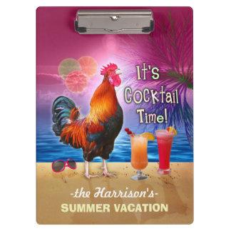 Coq drôle tropical des vacances | de plage ou de porte-bloc