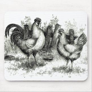 Coq et poule agricoles antiques de scène tapis de souris