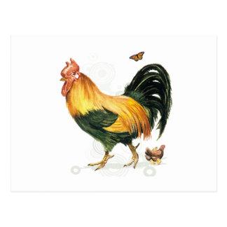 Coq fier avec la poule et les poulets carte postale