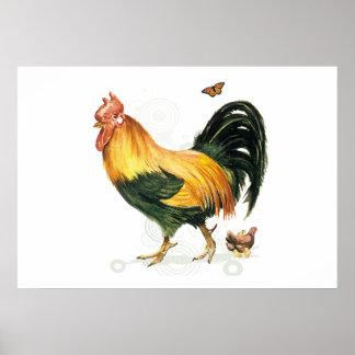 Coq fier avec la poule et les poulets posters