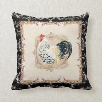 Coq français de blanc du noir n de damassé de coussin décoratif