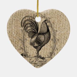 Coq français de pays de poulet vintage moderne de ornement cœur en céramique