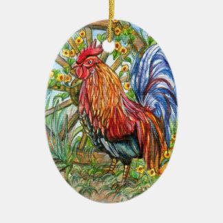 Coq par le jardin de roue ornement ovale en céramique