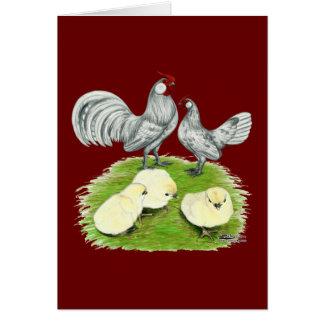 Coqs nains et poussins de Rosecomb Cartes De Vœux