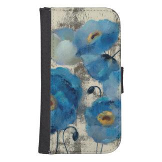 Coque Avec Portefeuille Pour Galaxy S4 Aigue-marine florale