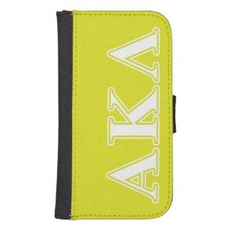 Coque Avec Portefeuille Pour Galaxy S4 Alpha Kappa lettres pourpres et jaunes de lambda