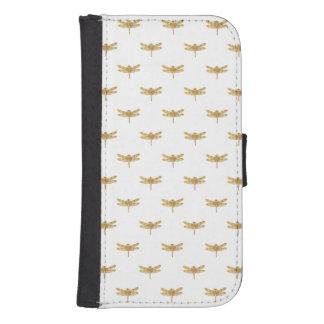 Coque Avec Portefeuille Pour Galaxy S4 Aluminium métallique de libellule d'or d'or de
