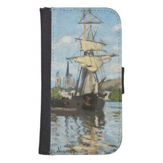 Coque Avec Portefeuille Pour Galaxy S4 Bateaux de Claude Monet | montant sur la Seine à