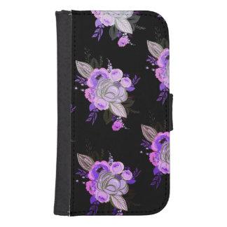 Coque Avec Portefeuille Pour Galaxy S4 Beau, rétro, moderne, floral, ultra-violet, noir,