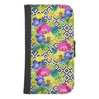 Coque Avec Portefeuille Pour Galaxy S4 Bégonia et palmettes d'orchidée