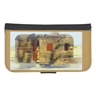 Coque Avec Portefeuille Pour Galaxy S4 caravane gitane en bois patinée