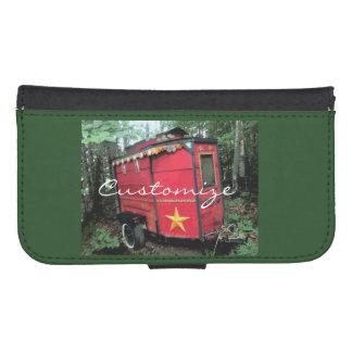Coque Avec Portefeuille Pour Galaxy S4 Caravane minuscule gitane rouge customisée